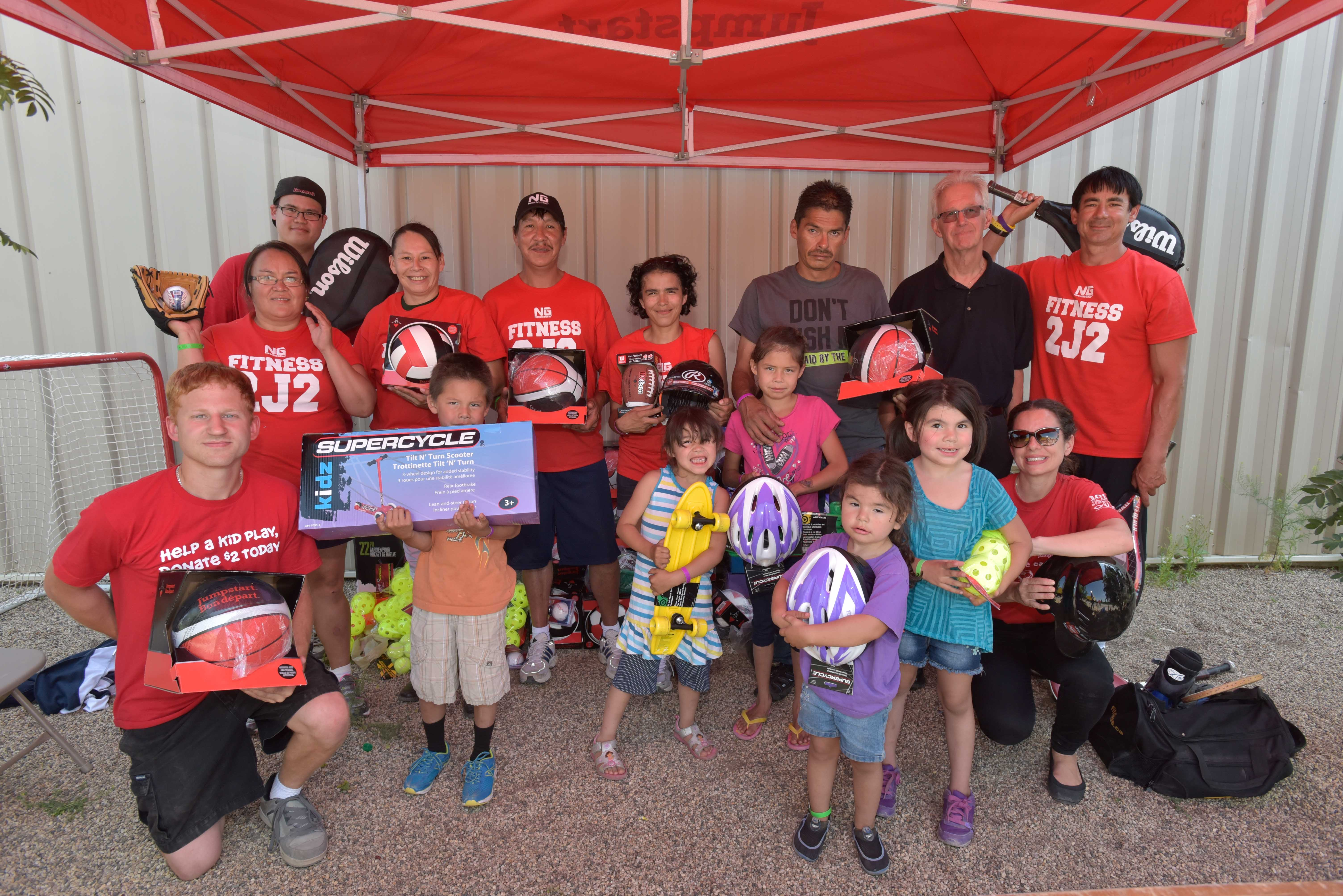 Canadian Tire stores in Saskatoon organized a donation of sporting equipment for people displaced by forest fires in northern Saskatchewan to soccer centres in Saskatoon on Thursday, July 9, 2015. (Canadian Press Images - Derek Mortensen)